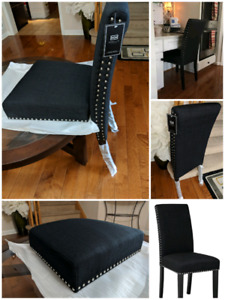 Black chairs. New chair. Branded. Markham. Ancaster