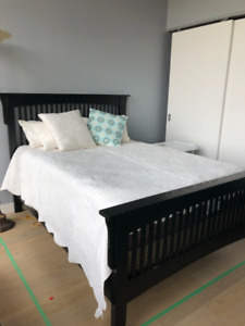 Mission double bed frame & pillow top mattress w/ box spring