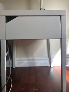 Two IKEA bedside tables - white metal