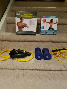 Medicine ball and resistance tubing and 3 pound weights
