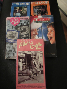 5 VHS Tapes - Little Rascals, I Love Lucy, Abbot & Costello.....