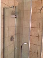 Tempered glass shower.