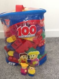 100 piece mega blocks bag & 2 people