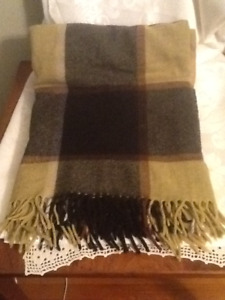 Vintage All Wool Plaid Blanket Throw