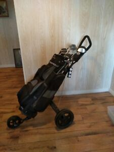 Spalding Clubs with bag and 3 wheel cart
