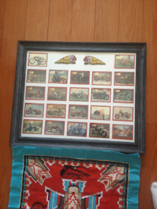 Framed 16x20 Indian Motorcycled Collector Cards.