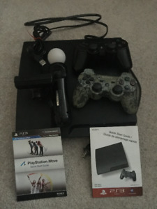 Playstation 3 with camera and 3 controllers