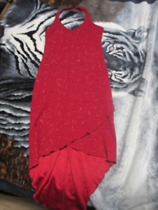 Sparkly red halter dress