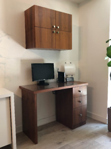Walnut Desk and wall mounted Cabinet (can be sold separately)