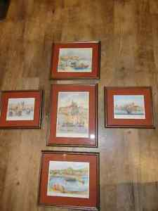 Matched set of 5 Malta pictures