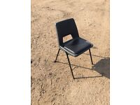14 x Grey Stacking Chairs Steel Framed Plastic Events Stackable