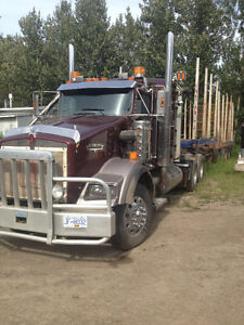 2007 kenworth log truck & trailer