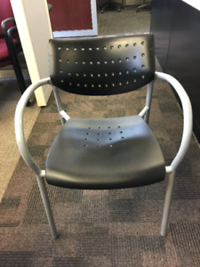 Side Chair - Keilhauer Also Stacking Chair with Arms in Black