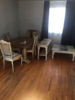 Antique dining table and matching coffee tables