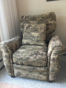 Two living room fabric recliner chairs