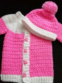 New crochet baby cardigan and hat