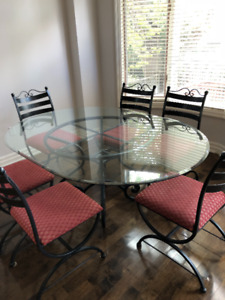Glass and Wrought Iron Dining Set