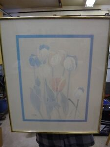 FRAMED SET OF 2 ORIGINAL FLORAL PRINTS - $30