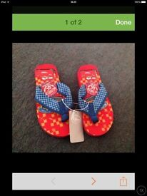Boys Disney Store Cars Flip flops & Boys canvas shoes for sale - size 11/12
