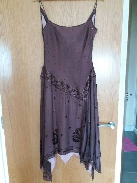 Monsoon chocolate embellished dress size 12