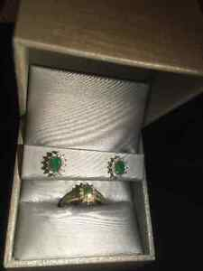 Emerald Birthstone Ring and Earrings