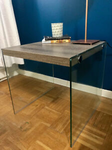 Set of 2 Monarch Grey Wood & Glass Side Tables