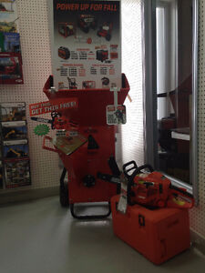 BEARCAT Wood Chipper on sale PLUS get a FREE CHAINSAW!!