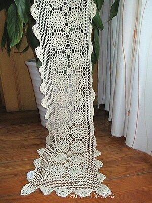 Shabby~Vintage Hand Crochet Cotton Table Runner/Scarf~Beige/Ecru~Country Cottage