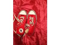 Red converse trainers size 2