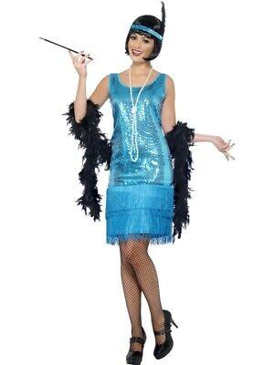 Flirty Flapper Kostüm Türkis mit Kleid Kopfschmuck und Halskette ()