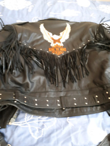 Ladies leather jacket with pants and chaps