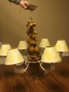 Pine hand-carved chandelier