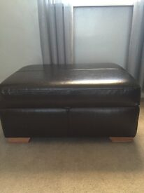 Large footstool black leather