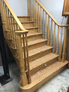 Oak staircase solid curved railings stair case