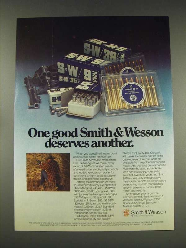 1976 Smith & Wesson Ammunition Ad - Deserves