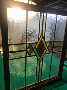"""PERFECT LARGE 29 x25"""" ANTIQUE STAIN GLASS LEAD WINDOW with Hooks"""