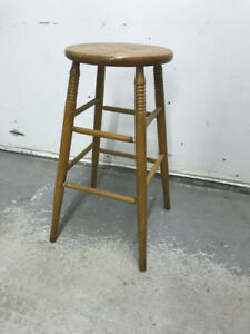 "Wooden Stool - 28"" H"