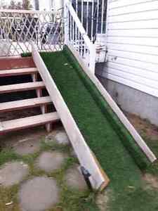 Grass covered dog ramp, plywood construction
