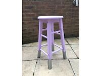 Stool painted in lilac with silver dipped legs