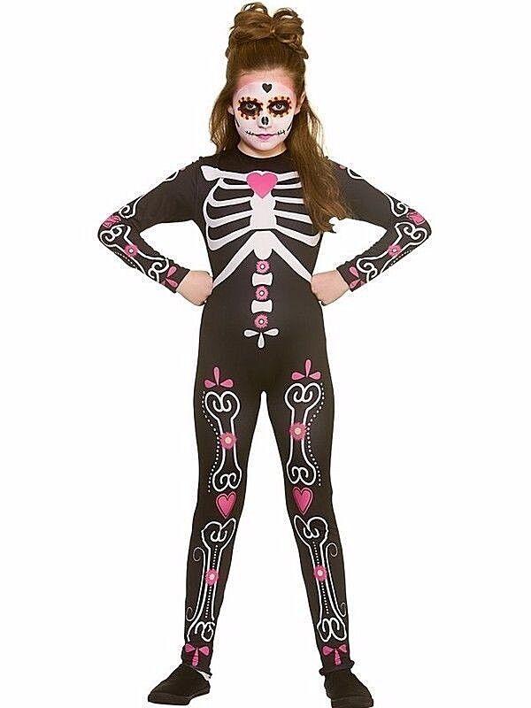 Kids Giorno dei Morti Halloween Candy Teschio Costume Costumi Sugar Skull UK