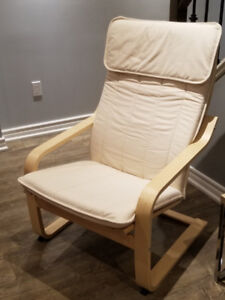 POÄNG IKEA_Armchair, Birch veneer, off-white_$60