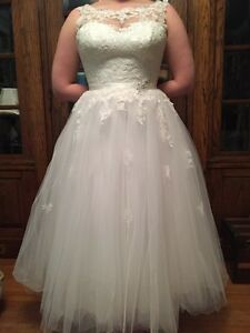 Tea-length Venise Lace & Tulle Wedding Dress for sale