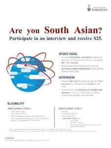 SOUTH ASIAN PARTICIPANTS RECEIVE $25 (UofT research study)