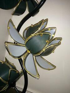 Black glass 4-bulb flower floor lamp