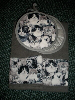 Cats kittens kitchen towels and 2 potholders