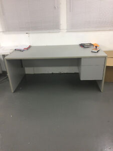 Grey Work Desk with 2 Cabinets