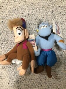 Vintage Disney Store Aladdin Genie & Abu Bean Bags New with Tags
