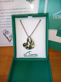 Paua shell sloth necklace