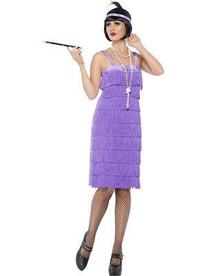 Purple Flapper Costume Womens Dress Fringe Halloween Headband Adult S M L XL NEW