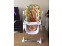 MOTHERCARE ARC HIGH CHAIR ADHUSTABLE HEIGHTS,3 RECLINE POSITIONS